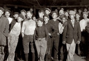 Lewis Wickes Hine, Young Workers on night shift at Cumberland Glass Works, 1909, by shorpy.com